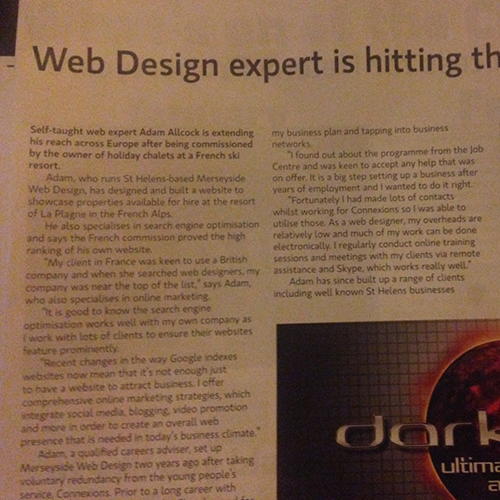 Merseyside Web Design Feature in St Helens' Chamber's Comment Magazine